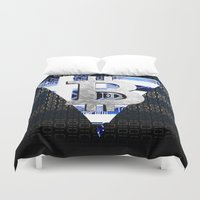 greece Duvet Covers featuring bitcoin Greece by seb mcnulty