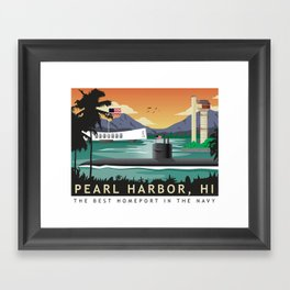 Pearl Harbor, HI - Retro Submarine Travel Poster Framed Art Print