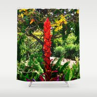 colombia Shower Curtains featuring Alpinia purpurata – Red Ginger Flower, Nature in Bogota, Colombia by ANoelleJay
