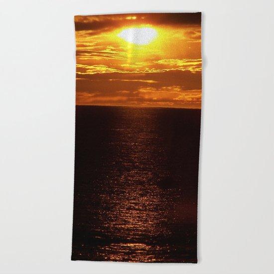 Golden Sunset on the Sea Beach Towel
