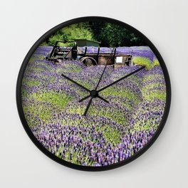 Lavender Fields and Abandoned Vehicle Wall Clock