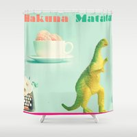 hakuna Shower Curtains featuring hakuna matata by HURLUdesign