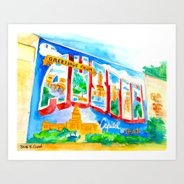Greetings From Austin Mural watercolor Art Print