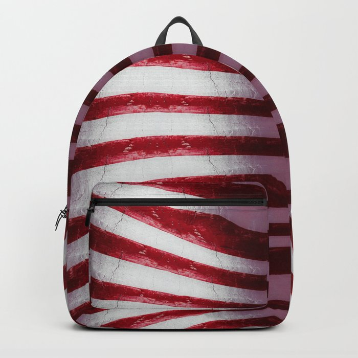 Red and White Organic Rib Cage Backpack