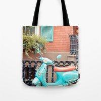 vespa Tote Bags featuring Vespa  by Carmen Moreno Photography