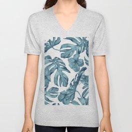 Teal Blue Tropical Palm Leaves Flowers Unisex V-Neck