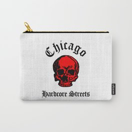 Chicago Illinois Hardcore Streets Urban Streetwear Red Color Skull, Super Sharp PNG Carry-All Pouch