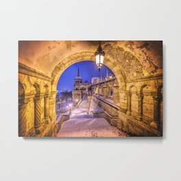 Snowy winter morning at the Fisherman's Bastion in Budapest Metal Print