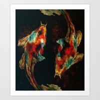 koi Art Prints featuring Koi by a collection. James Peart