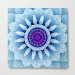 Frosted Flower Mandala Baby Blue Purple Metal Print