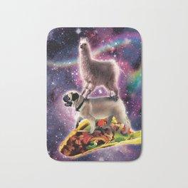 Rainbow Space Llama On Pug Riding Taco Bath Mat