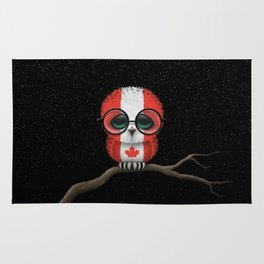 Baby Owl with Glasses and Canadian Flag Rug