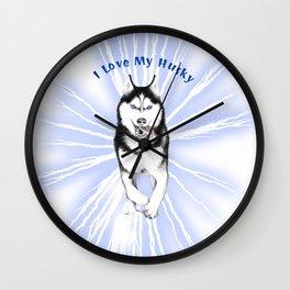 I Love My Husky Wall Clock