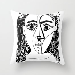 Picasso Woman's head #6 black line Throw Pillow