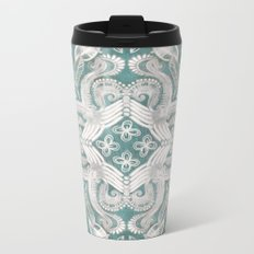 Teal and grey dirty denim textured boho pattern Metal Travel Mug