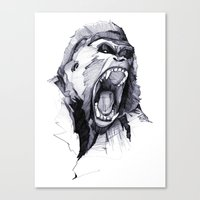 ape Canvas Prints featuring Wild Rage by Philipp Zurmöhle