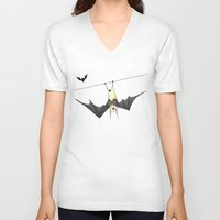 bat V-neck T-shirts featuring bat by Alp Adal