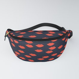 Red Lips on Navy Blue Background Fanny Pack