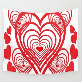 0PTICAL ART RED VALENTINES HEARTS IN HEARTS DESIGN Wall Tapestry