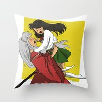 inuyasha Throw Pillows featuring Inuyasha and Kagome by Lara Pickle