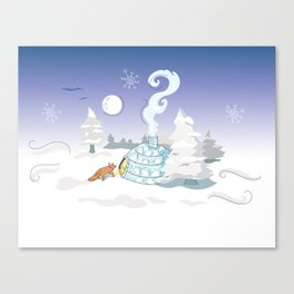 Winter Time Fox Canvas Print