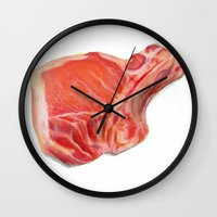 meat Wall Clocks featuring Meat by Adriana de Barros