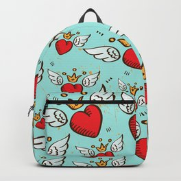 winged hearts pattern Backpack