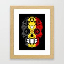 Sugar Skull with Roses and Flag of Belgium Framed Art Print