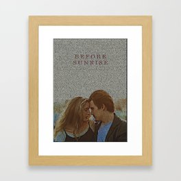 Text Portrait of Ethan Hawke and Julie Delpy with Full Script of the movie Before Sunrise Framed Art Print