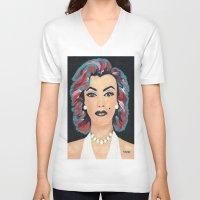 marilyn V-neck T-shirts featuring Marilyn by Sartoris ART