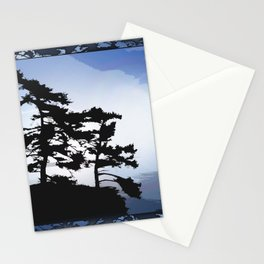 TWO WINDSWEPT DOUGLAS FIR ON THE SHORELINE Stationery Cards