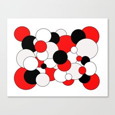 Bubbles - red, black, gray and white. Canvas Print