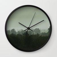 fog Wall Clocks featuring Fog by Andac