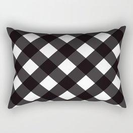 Contemporary Black & White Tilt Gingham Pattern - Mix & Match With Simplicty Of Life Rectangular Pillow