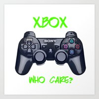 xbox Art Prints featuring Ps vs xbox by BAS~