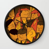 the goonies Wall Clocks featuring The Goonies by Ale Giorgini