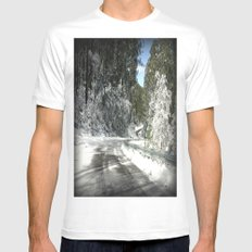 Winding road down Mt.Baw Baw White Mens Fitted Tee SMALL