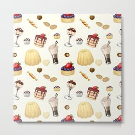 Sweet pattern with various desserts. Metal Print
