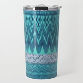 crochet mixed with lace in teal Travel Mug