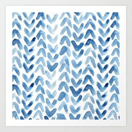 Blue Chevron Watercolour Art Print