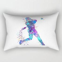 Boy Baseball Softball Batter Colorful Watercolor Sports Art Rectangular Pillow