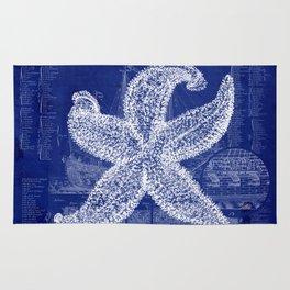 Vintage Starfish Blueprint Rug