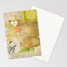 Neutral & Green Abstract Art Collage Stationery Cards