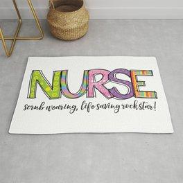 Nurse Scrub Wearing Life Saving Rockstar Typography Rug
