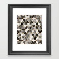 Black & White Cubes Framed Art Print