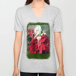 Mixed color Poinsettias 3 Blank P1F0 Unisex V-Neck
