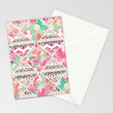 Aztec Floral  Diamond Stationery Cards