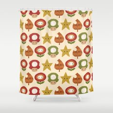 mario items pattern Shower Curtain