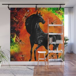HORSE MOON AND DRAGONFLY VISIONS Wall Mural