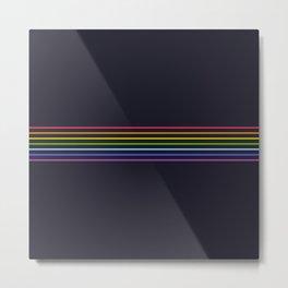 Fine Rainbow Colored Retro Lines Metal Print